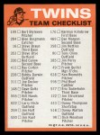 1973 Topps Blue Team Checklists #14   Minnesota Twins Back Thumbnail