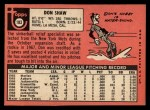 1969 Topps #183 ^COR^ Don Shaw  Back Thumbnail