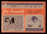 1970 Topps #150  Joe Namath  Back Thumbnail