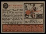 1962 Topps #341  Mike Hershberger  Back Thumbnail