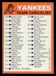1973 Topps Blue Checklist   Yankees Back Thumbnail