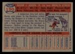 1957 Topps #190  Randy Jackson  Back Thumbnail