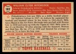 1952 Topps #182 CRM Billy Hitchcock  Back Thumbnail
