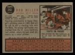 1962 Topps #293  Bob Miller  Back Thumbnail
