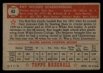 1952 Topps #43 RED Ray Scarborough  Back Thumbnail