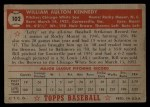 1952 Topps #102  Bill Kennedy  Back Thumbnail