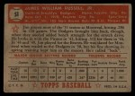 1952 Topps #51 RED Jim Russell  Back Thumbnail