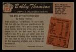 1955 Bowman #102  Bobby Thomson  Back Thumbnail