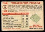 1956 Topps #72 LFT  Phillies Team Back Thumbnail