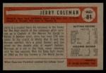 1954 Bowman #81 2B Jerry Coleman  Back Thumbnail