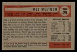 1954 Bowman #25 ALL Wes Westrum  Back Thumbnail