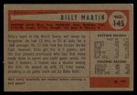 1954 Bowman #145 ALL Billy Martin  Back Thumbnail