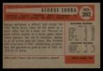 1954 Bowman #202  George Shuba  Back Thumbnail
