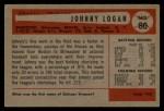 1954 Bowman #80 COR Johnny Logan  Back Thumbnail