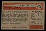 1954 Bowman #216 SS Jerry Snyder  Back Thumbnail