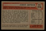 1954 Bowman #216 ALL Jerry Snyder   Back Thumbnail