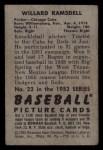 1952 Bowman #22  Willard Ramsdell  Back Thumbnail