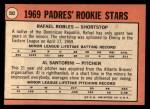 1969 Topps #592   -   Rafael Robles / Al Santorini Padres Rookies  Back Thumbnail