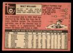1969 Topps #309  Walt Williams  Back Thumbnail