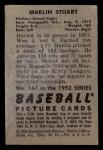 1952 Bowman #147  Marlin Stuart  Back Thumbnail