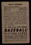 1952 Bowman #203  Steve Gromek  Back Thumbnail