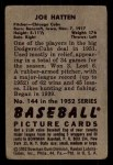 1952 Bowman #144  Joe Hatten  Back Thumbnail