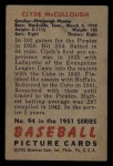 1951 Bowman #94  Clyde McCullough  Back Thumbnail