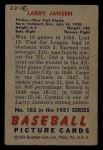 1951 Bowman #162  Larry Jansen  Back Thumbnail