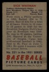 1951 Bowman #221  Dick Whitman  Back Thumbnail