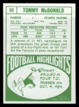1968 Topps #99  Tommy McDonald  Back Thumbnail