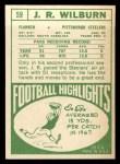 1968 Topps #59  J.R. Wilburn  Back Thumbnail
