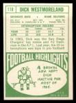 1968 Topps #118  Dick Westmoreland  Back Thumbnail