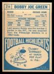 1968 Topps #214  Bobby Joe Green  Back Thumbnail