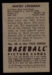 1952 Bowman #38  Whitey Lockman  Back Thumbnail
