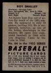 1952 Bowman #64  Roy Smalley  Back Thumbnail