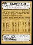 1968 Topps #407  Gary Kolb  Back Thumbnail
