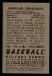1952 Bowman #143  Sandy Consuegra  Back Thumbnail
