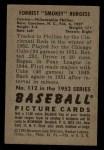 1952 Bowman #112  Smoky Burgess  Back Thumbnail