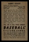 1952 Bowman #50  Gerry Staley  Back Thumbnail