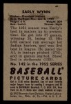 1952 Bowman #142  Early Wynn  Back Thumbnail