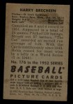1952 Bowman #176  Harry Brecheen  Back Thumbnail