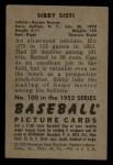 1952 Bowman #100  Sibby Sisti  Back Thumbnail