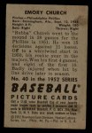 1952 Bowman #40  Bubba Church  Back Thumbnail