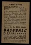 1952 Bowman #61  Tommy Byrne  Back Thumbnail