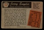 1955 Bowman #74  Jerry Snyder  Back Thumbnail