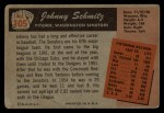 1955 Bowman #105  Johnny Schmitz  Back Thumbnail
