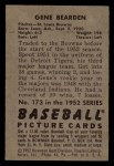 1952 Bowman #173  Gene Bearden  Back Thumbnail