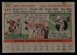 1956 Topps #114 GRY Jim Owens  Back Thumbnail