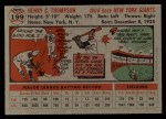 1956 Topps #199  Hank Thompson  Back Thumbnail