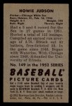 1952 Bowman #149  Howie Judson  Back Thumbnail